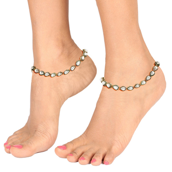 White yellow gold plated anklets