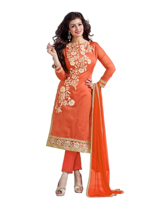 Orange embroidered chanderi unstitched salwar with dupatta