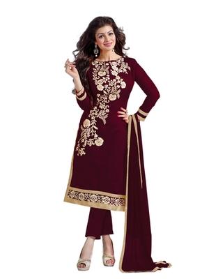 Maroon embroidered chanderi unstitched salwar with dupatta