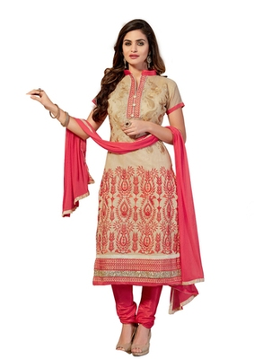 Beige embroidered cotton unstitched salwar with dupatta