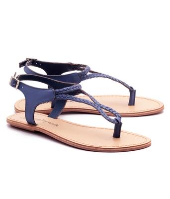 Blue genuine leather casual footwear