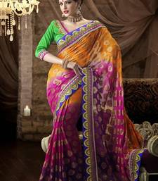 Buy Multi Color Designer Brasso Saree with Unstitched Blouse brasso-saree online