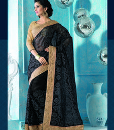 Buy black embroidered pure tissue saree With Blouse tissue-saree online