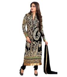 Buy Black georgette embroidered semi stitiched salwar with dupatta salwars-and-churidar online