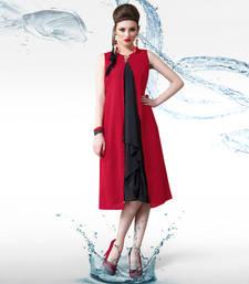 Red and black georgette plain kurti