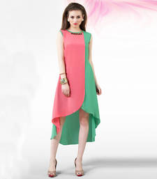 Pink and green georgette plain kurti