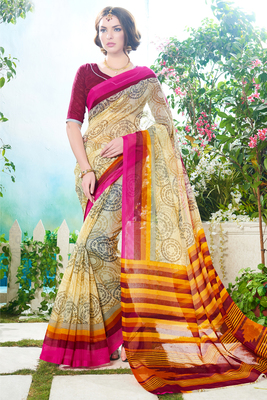 beige printed super net saree With Blouse