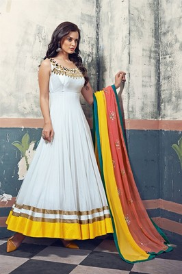 133084d912 White georgette embroidered semi stitiched salwar with dupatta - AnBazaar -  1066839