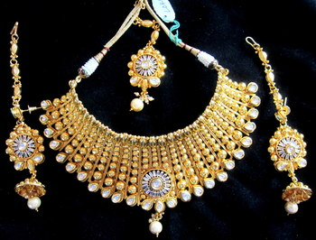BROAD CHOKER NECKLACE SET POLKI GOLD plated TIKA  JHUMKA  earrings