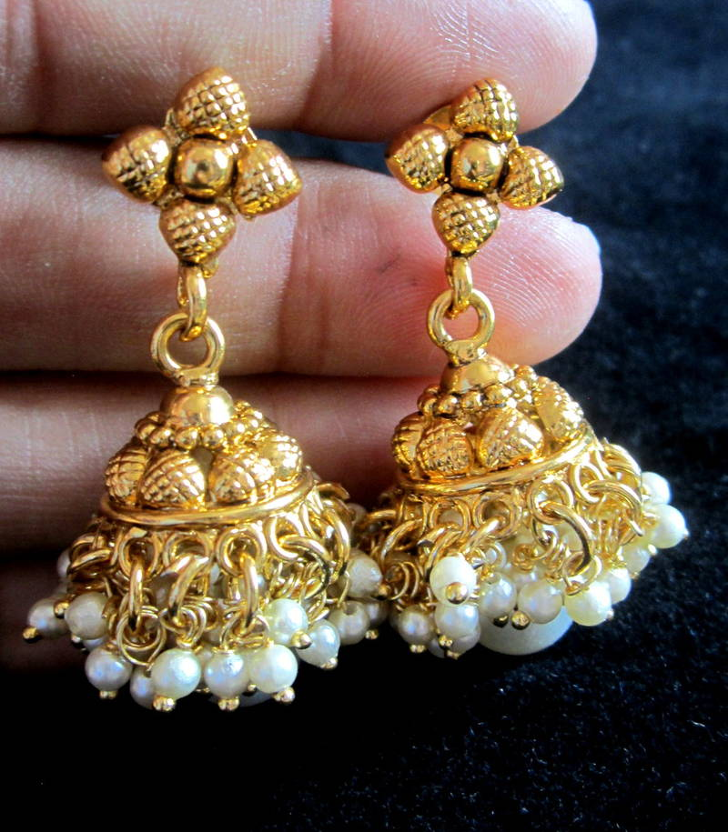 New Necklace Earring Set Gold Polki Jewellery Indian: Buy NECKLACE SET POLKI PEARL Beads Gold Plated Temple