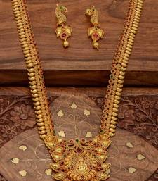 Buy ANTIQUE GOLDEN STONE STUDDED TRADITIONAL TEMPLE THEME NECKLACE SET south-indian-jewellery online