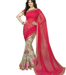 Buy Pink printed georgette saree With Blouse black-friday-deal-sale online