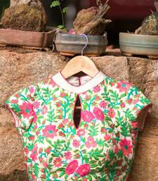 Buy Green and pink embroidered unstitched blouse blouse-fabric online