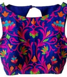 Buy Blue embroidered unstitched blouse blouse-fabric online