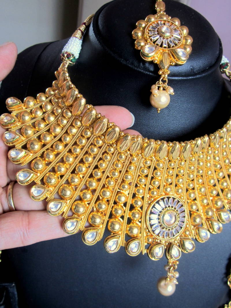 d818dcc792d3a4 ... BROAD CHOKER NECKLACE SET POLKI GOLD plated TIKA JHUMKA earrings ...