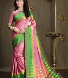Buy Baby Pink and Green Printed Cotton Silk Saree With Blouse cotton-saree online