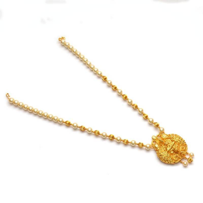 5efb29bb4b Anvi's lakshmi pendent (temple jewellery) with pearl and gold beads  combnation ...