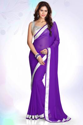 Purple  plain chiffon saree with blouse