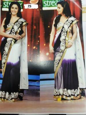 3865ee93b164ba Purple white Chiffon Dual Tone Thread and sequence work Bollywood saree  with embroidered unstitched blouse piece - Bikaw - 126675