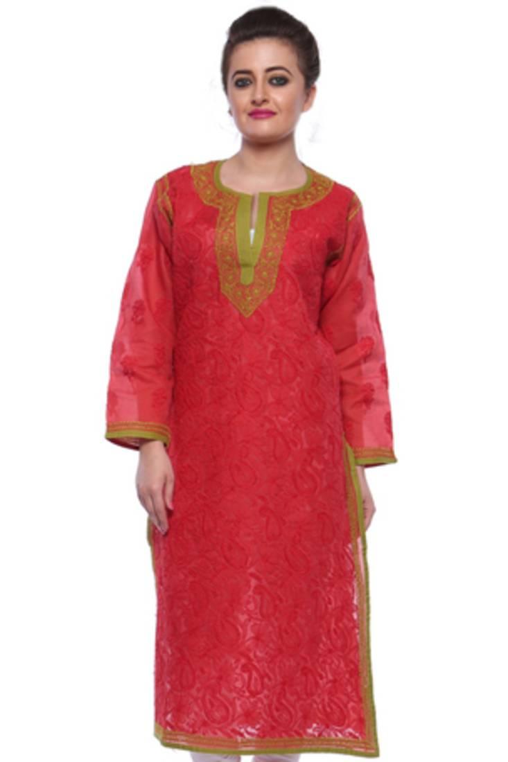 Buy Ada Red Embroidered Cotton Lucknowi Chikankari Kurti Online