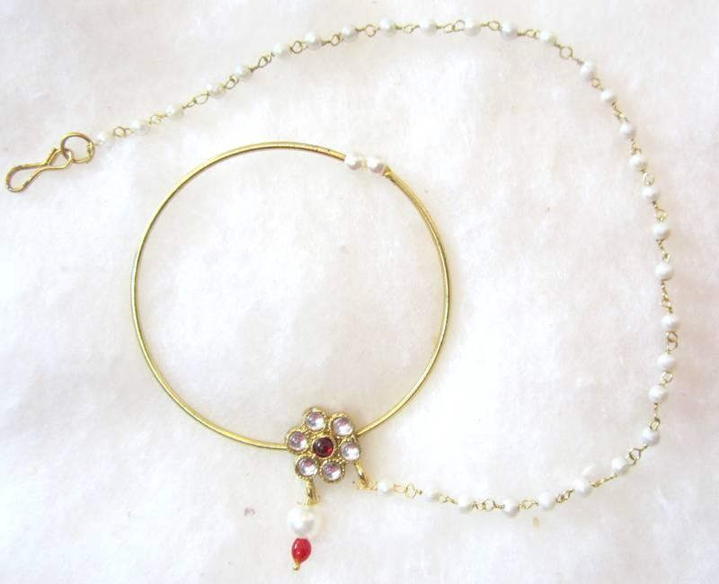 Buy Big Hoop Nose Ring Pearl String Bridal Press Nath Gold