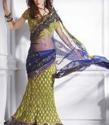 Buy Blue and green embroidered viscose saree with blouse lehenga-saree online