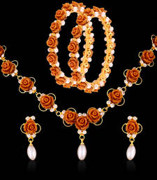 Buy BEAUTIFUL FLOWER NECKLACE SET AND BANGLE COMBO SET jewellery-combo online