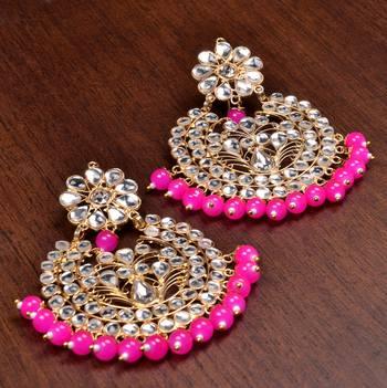 Pink Beads And Kundan Embellished Dangler Earrings