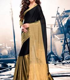 Buy black printed chanderi saree With Blouse chanderi-saree online