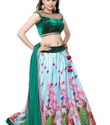 Buy Multicolor printed american crepe unstitched lehenga choli lehenga-choli online