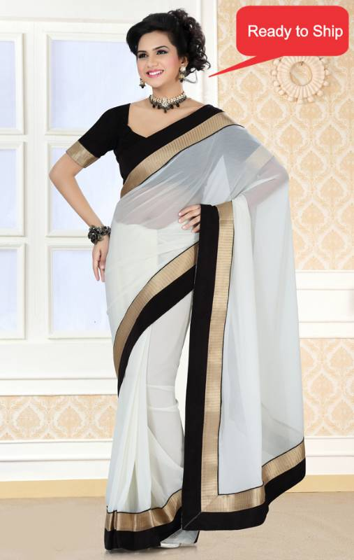 ead121f563 Graceful Party Wear White Color Faux Georgette Designer Saree with Blouse -  Saree Swarg - 127093