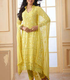 Buy Yellow embroidered cotton unstitched salwar with dupatta cotton-salwar-kameez online