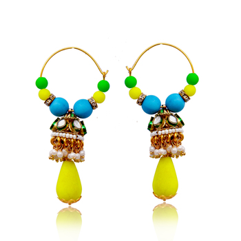 Neon Kundan Dul Bali Earring