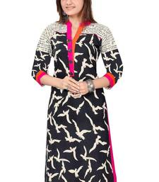 Buy Black straight cut crepe kurti kurtas-and-kurti online