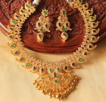 Unique Bridal Designer Ad Green Blue Mango Necklace Set