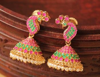 Awesome Designer Pink Green Small Peacock Jhumka