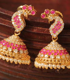 Awesome Designer White Ruby Small Peacock Jhumka