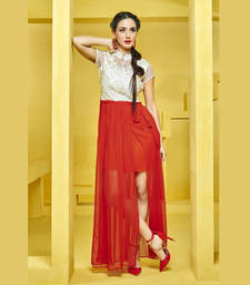 Red and White  embroidered kurti