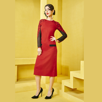 Red and Black  embroidered kurti