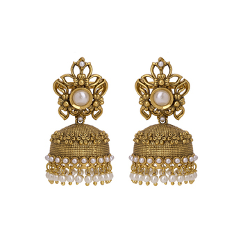 gold plated royal pearl studded flower designed ethnic jhumki earring