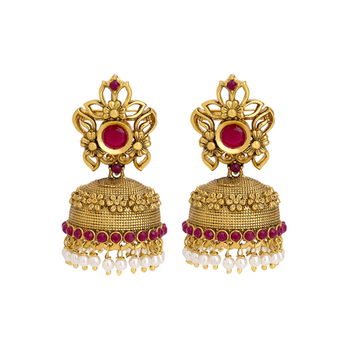 Gold Plated Royal Pearl And Red Stones Studded Flower Designed Ethnic Jhumki Earring