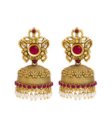 55% OFF Buy gold plated royal pearl and red stones studded flower designed ethnic jhumki earring jhumka online