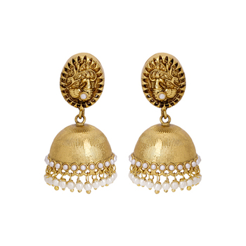 Gold Plated Royal Classic Peacock Designed Pearl Finished Jhumki