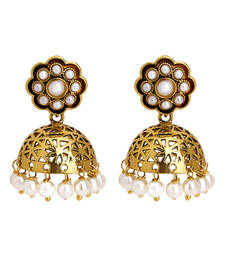 Buy gold plated pearl finished classical filigree jhumki jhumka online