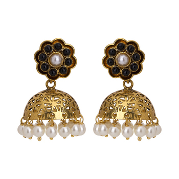 Gold Plated Black And White Pearl Finished Classical Filigree Jhumki