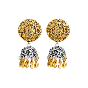 gold plated antique silver finished ethnic jhumki