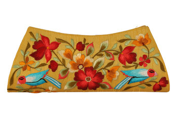Yellow cotton silk fashion thread work clutches