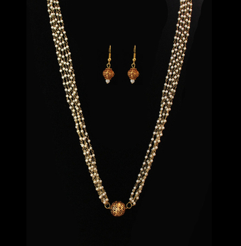 Gheru Gold Plated Pearls Necklace And Earrings Set