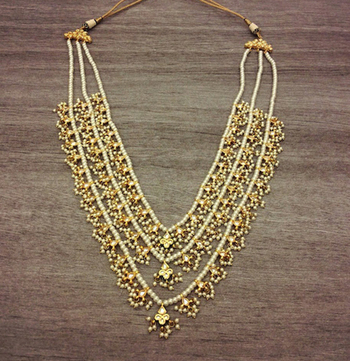 Kundan and Pearls High End Gold Plated Teen Lada necklace