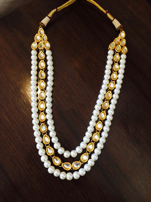 Kundan And Pearl Line Gold Plated Long Necklace